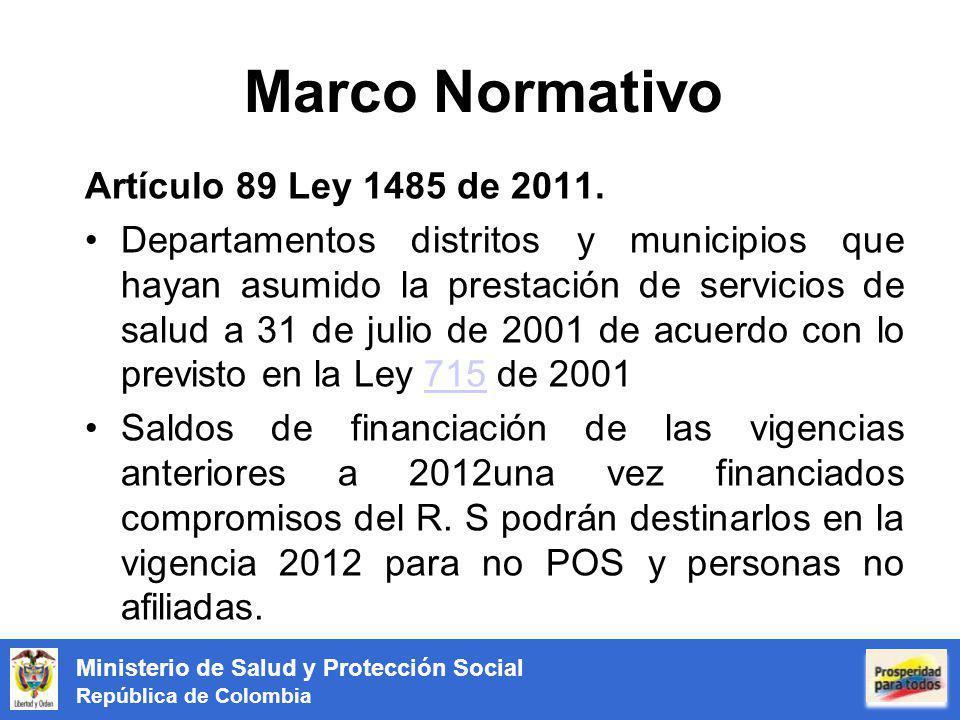 Ministerio de Salud y Protección Social República de Colombia Marco Normativo Artículo 89 Ley 1485 de 2011. Departamentos distritos y municipios que h