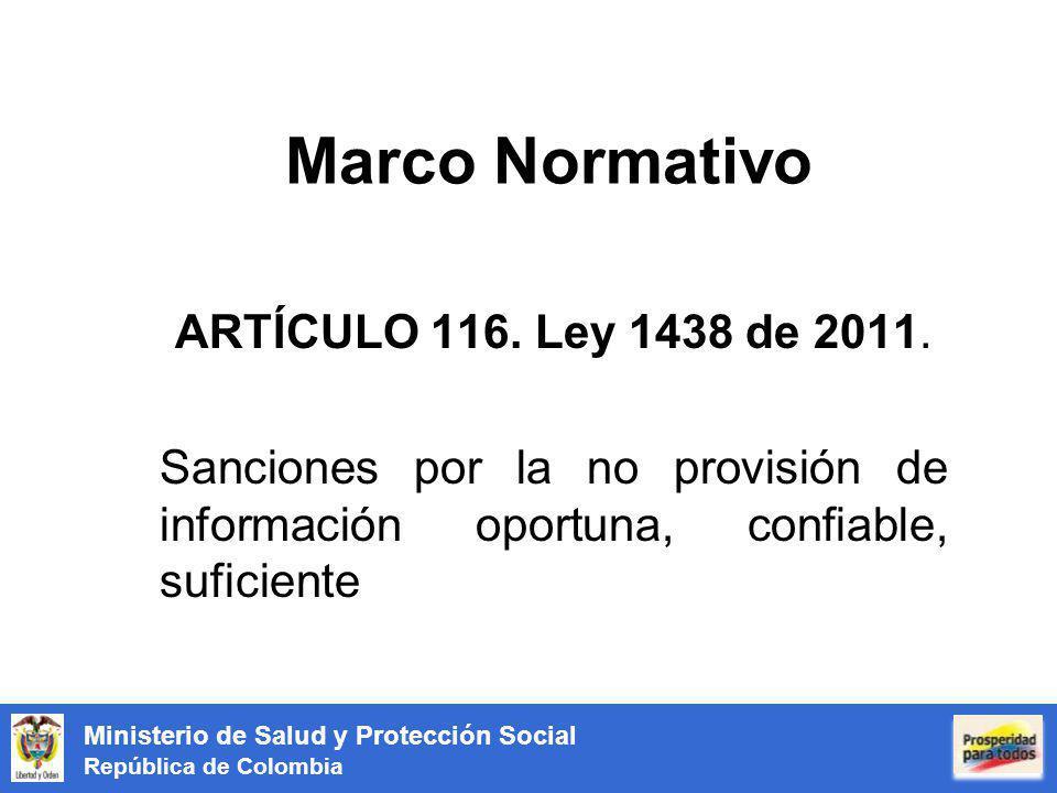 Ministerio de Salud y Protección Social República de Colombia Marco Normativo ARTÍCULO 116. Ley 1438 de 2011. Sanciones por la no provisión de informa