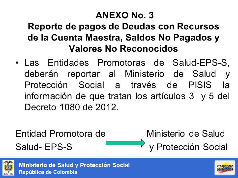 Ministerio de Salud y Protección Social República de Colombia ANEXO No. 3 Reporte de pagos de Deudas con Recursos de la Cuenta Maestra, Saldos No Paga