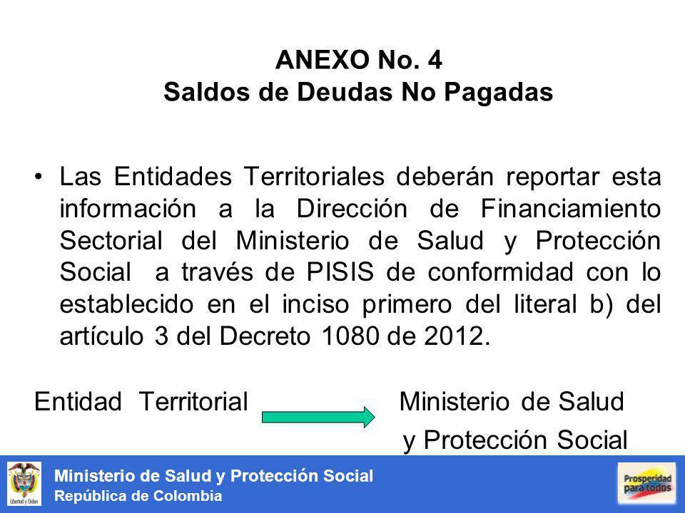 Ministerio de Salud y Protección Social República de Colombia ANEXO No. 4 Saldos de Deudas No Pagadas Las Entidades Territoriales deberán reportar est