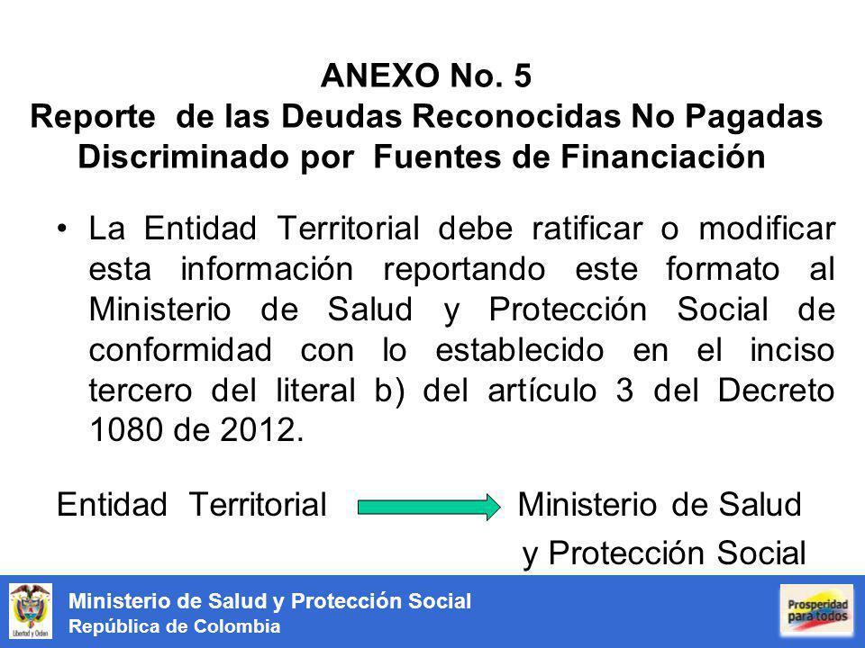 Ministerio de Salud y Protección Social República de Colombia ANEXO No. 5 Reporte de las Deudas Reconocidas No Pagadas Discriminado por Fuentes de Fin