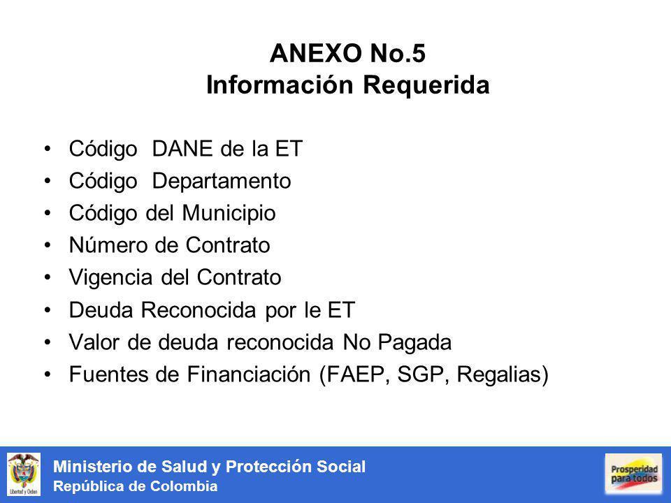 Ministerio de Salud y Protección Social República de Colombia ANEXO No.5 Información Requerida Código DANE de la ET Código Departamento Código del Mun
