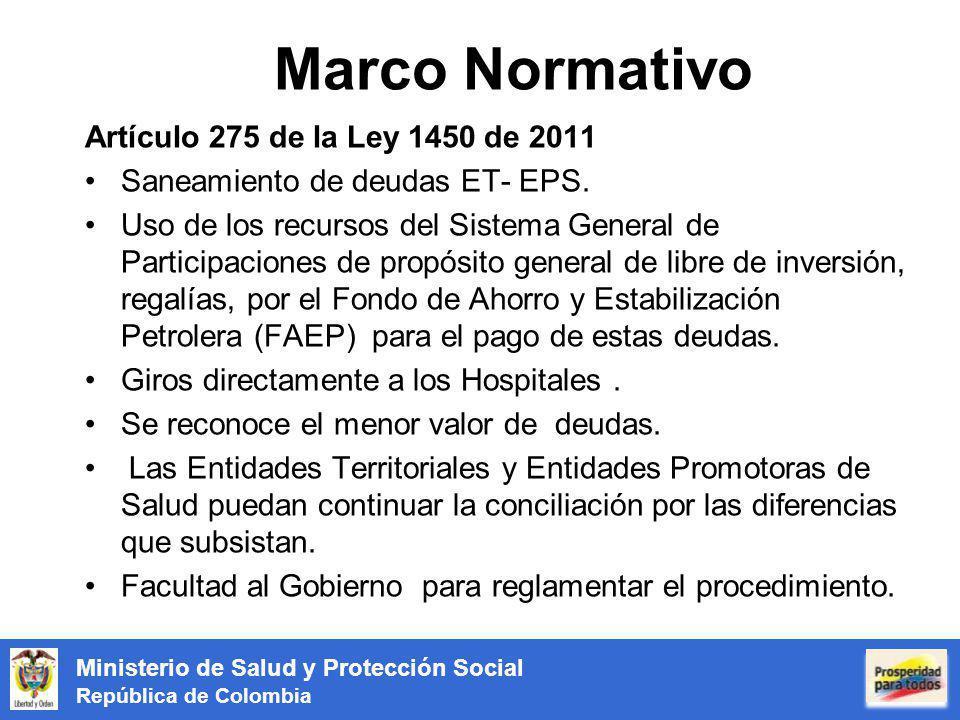 Ministerio de Salud y Protección Social República de Colombia Marco Normativo Artículo 275 de la Ley 1450 de 2011 Saneamiento de deudas ET- EPS. Uso d
