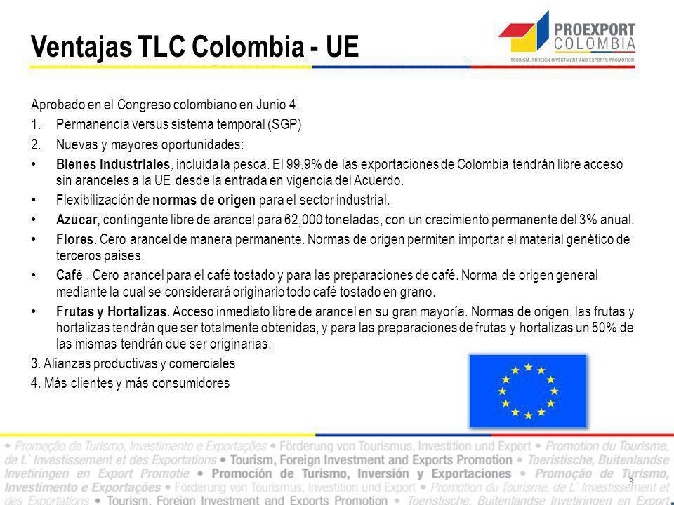 1.Nuevas y mayores oportunidades: – Agrícolas: En concesiones arancelarias, AELC otorgó a los productos Colombianos, un trato no menos favorable que el concedido a la Comunidad Europea el 1º de enero de 2008.