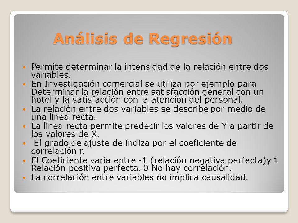 Análisis de Regresión Permite determinar la intensidad de la relación entre dos variables. En Investigación comercial se utiliza por ejemplo para Dete