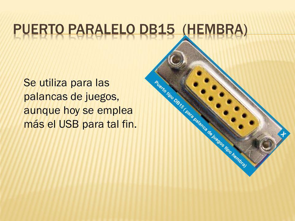 Se utiliza para las palancas de juegos, aunque hoy se emplea más el USB para tal fin.
