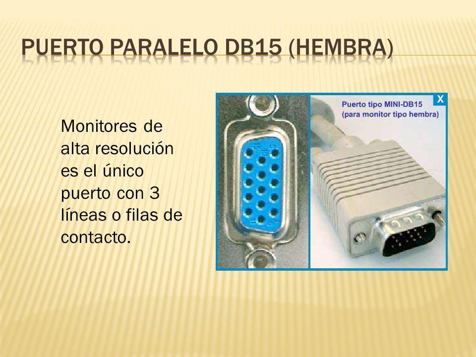 Monitores de alta resolución es el único puerto con 3 líneas o filas de contacto.