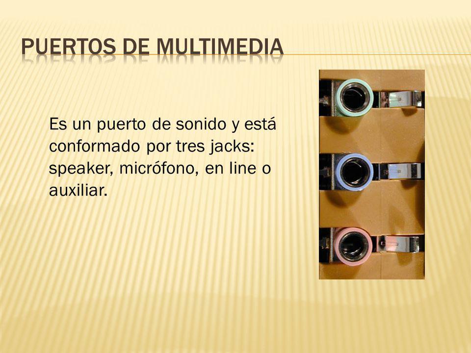 Es un puerto de sonido y está conformado por tres jacks: speaker, micrófono, en line o auxiliar.