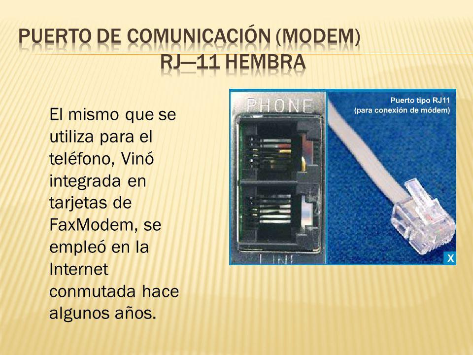 El mismo que se utiliza para el teléfono, Vinó integrada en tarjetas de FaxModem, se empleó en la Internet conmutada hace algunos años.