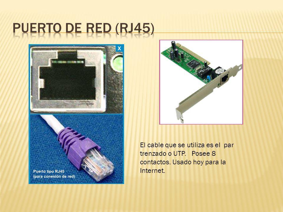 El cable que se utiliza es el par trenzado o UTP. Posee 8 contactos. Usado hoy para la Internet.