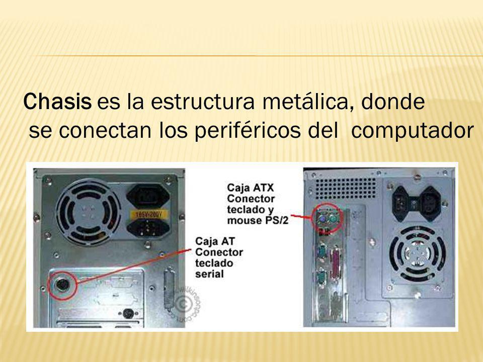 Chasis es la estructura metálica, donde se conectan los periféricos del computador