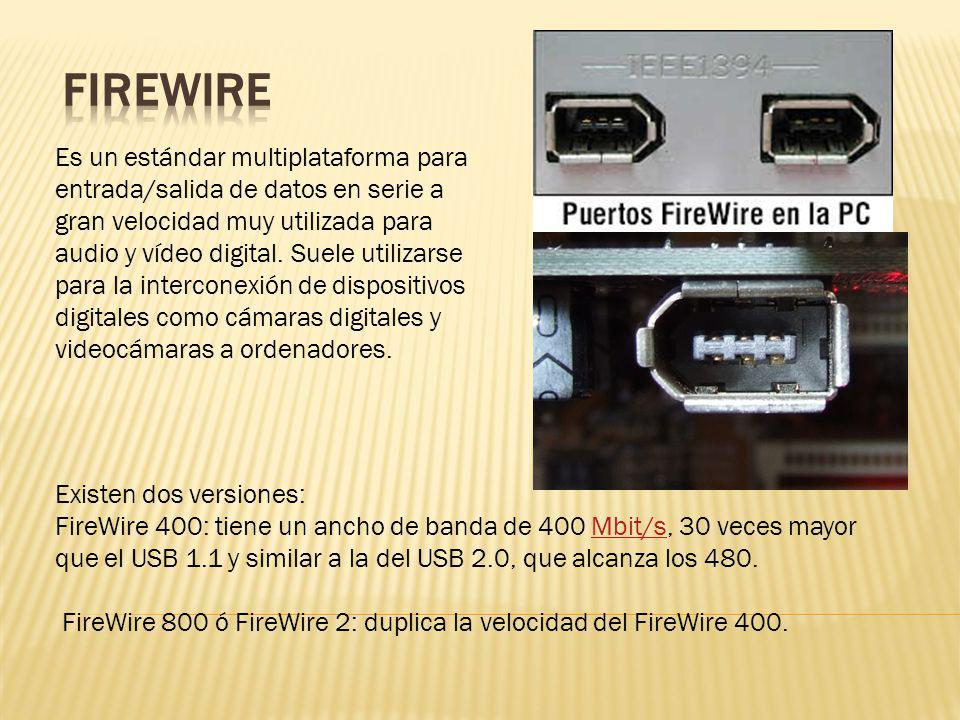 Es un estándar multiplataforma para entrada/salida de datos en serie a gran velocidad muy utilizada para audio y vídeo digital. Suele utilizarse para