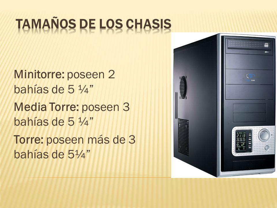 Minitorre: poseen 2 bahías de 5 ¼ Media Torre: poseen 3 bahías de 5 ¼ Torre: poseen más de 3 bahías de 5¼