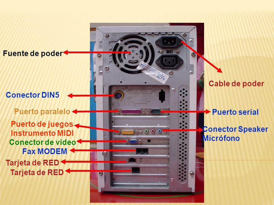 Fuente de poder Conector DIN5 Puerto paralelo Puerto de juegos Instrumento MIDI Conector de video Fax MODEM Tarjeta de RED Cable de poder Puerto seria