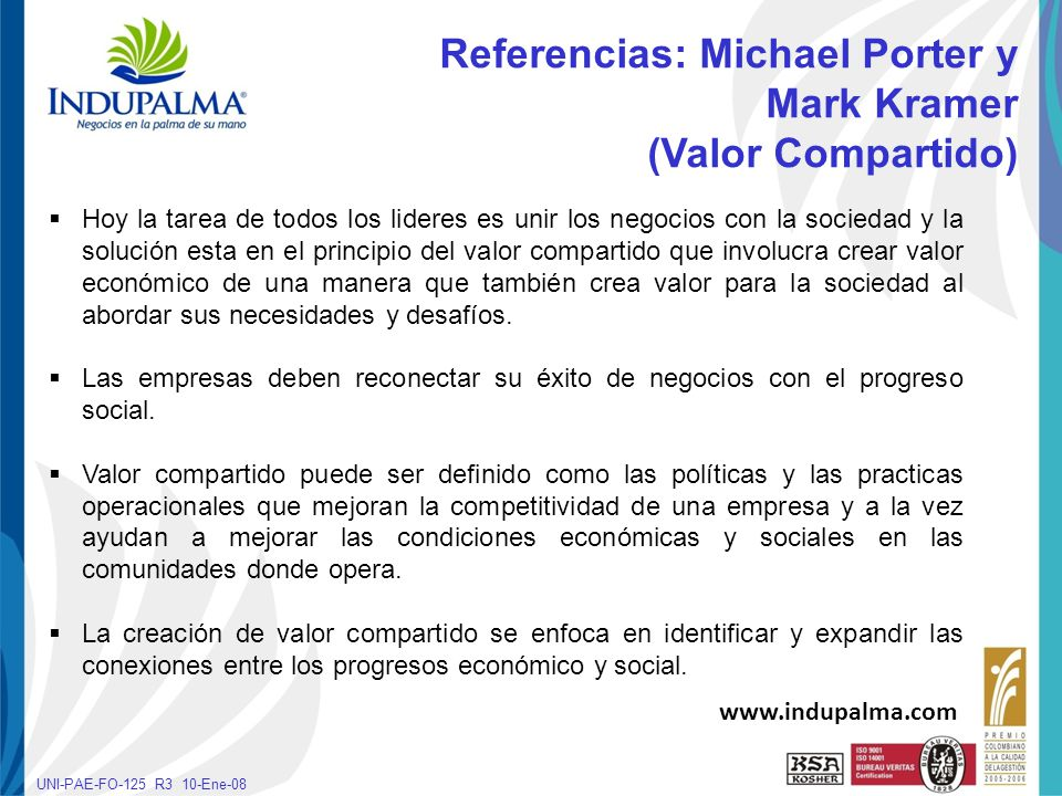 Haga clic para cambiar el estilo de título UNI-PAE-FO-125 R3 10-Ene-08 Reingeniería de Procesos y Reingeniería social www.indupalma.com