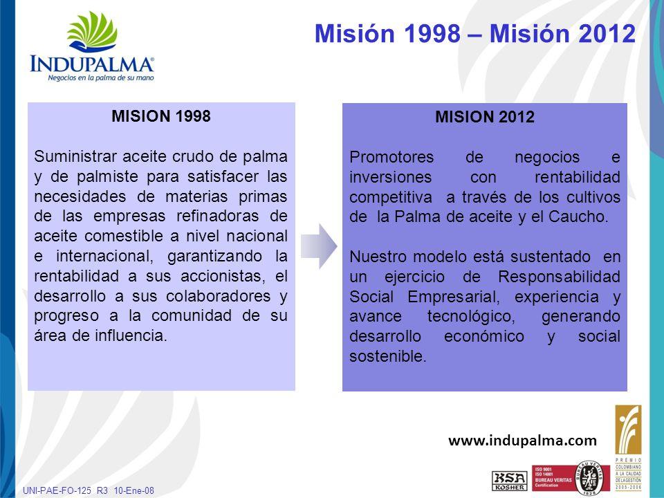 Haga clic para cambiar el estilo de título UNI-PAE-FO-125 R3 10-Ene-08 Misión 1998 – Misión 2012 MISION 1998 Suministrar aceite crudo de palma y de pa