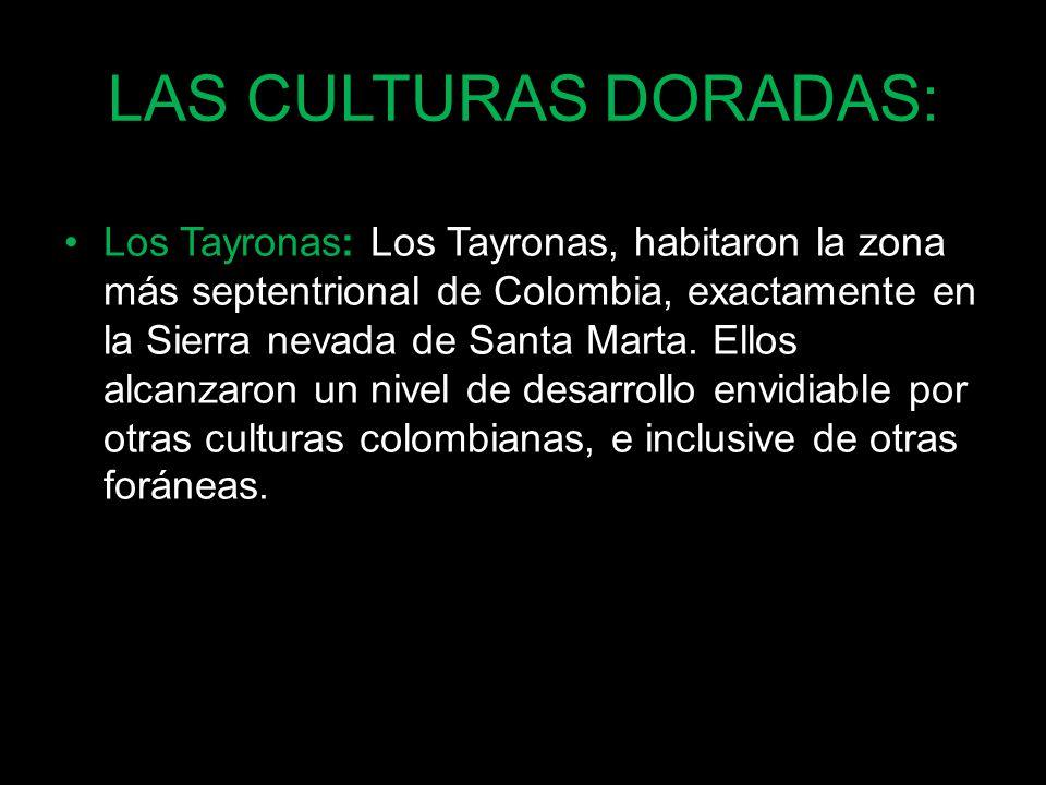 LAS CULTURAS DORADAS: Los Tayronas: Los Tayronas, habitaron la zona más septentrional de Colombia, exactamente en la Sierra nevada de Santa Marta. Ell