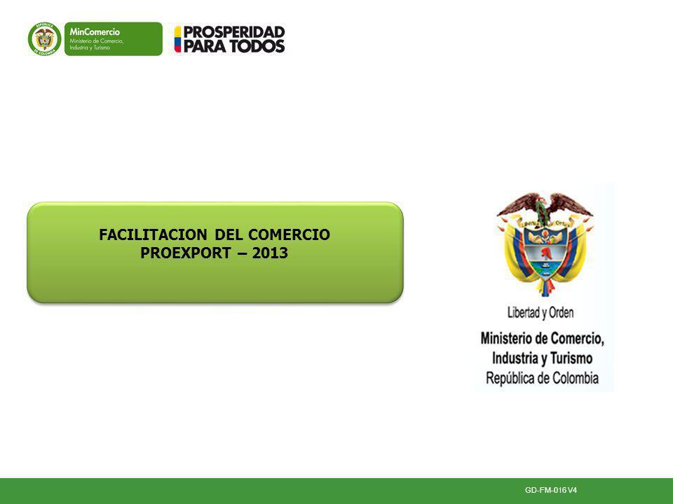 GD-FM-016 V4 FACILITACION DEL COMERCIO PROEXPORT – 2013 FACILITACION DEL COMERCIO PROEXPORT – 2013