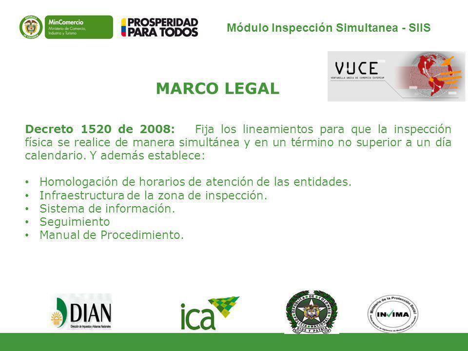 Módulo Inspección Simultanea - SIIS MARCO LEGAL Decreto 1520 de 2008: Fija los lineamientos para que la inspección física se realice de manera simultánea y en un término no superior a un día calendario.