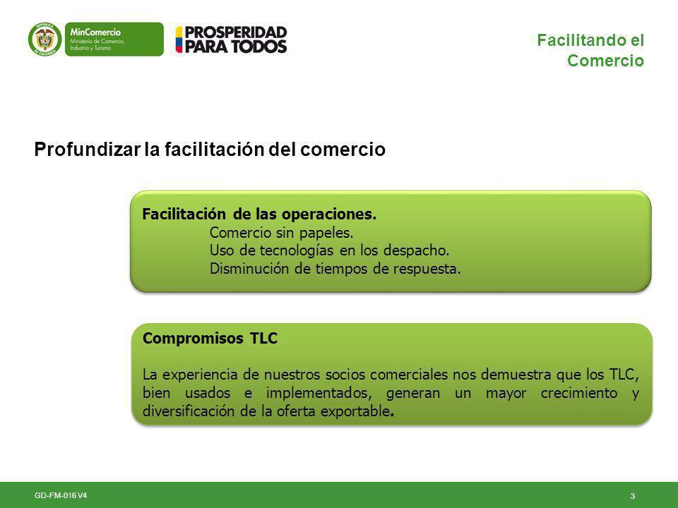 3 Facilitando el Comercio Profundizar la facilitación del comercio GD-FM-016 V4 Compromisos TLC La experiencia de nuestros socios comerciales nos demuestra que los TLC, bien usados e implementados, generan un mayor crecimiento y diversificación de la oferta exportable.