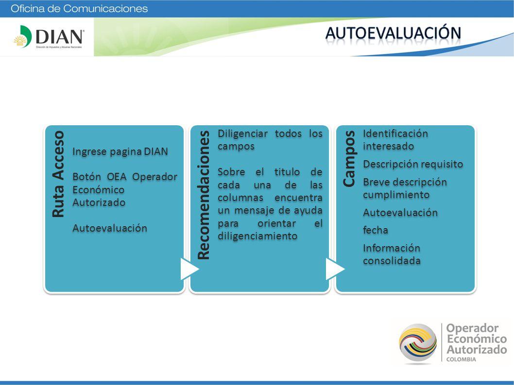 Ruta Acceso Ingrese pagina DIAN Botón OEA Operador Económico Autorizado Autoevaluación Recomendaciones Diligenciar todos los campos Sobre el titulo de