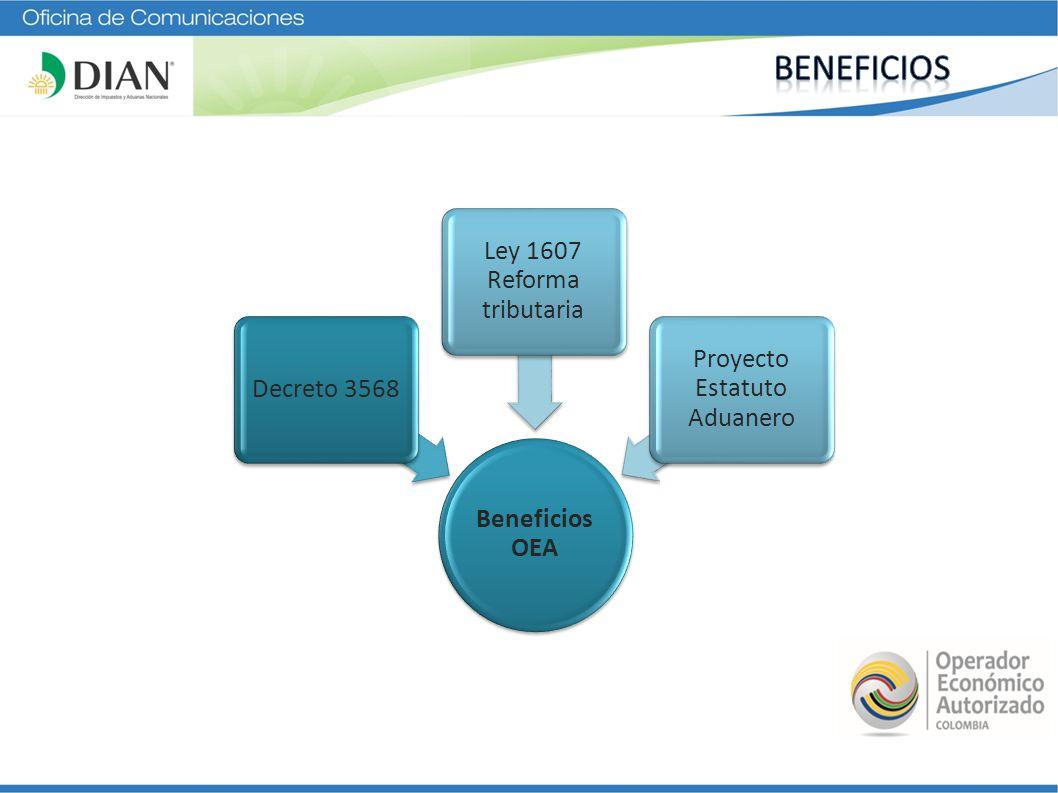 Beneficios OEA Decreto 3568 Ley 1607 Reforma tributaria Proyecto Estatuto Aduanero