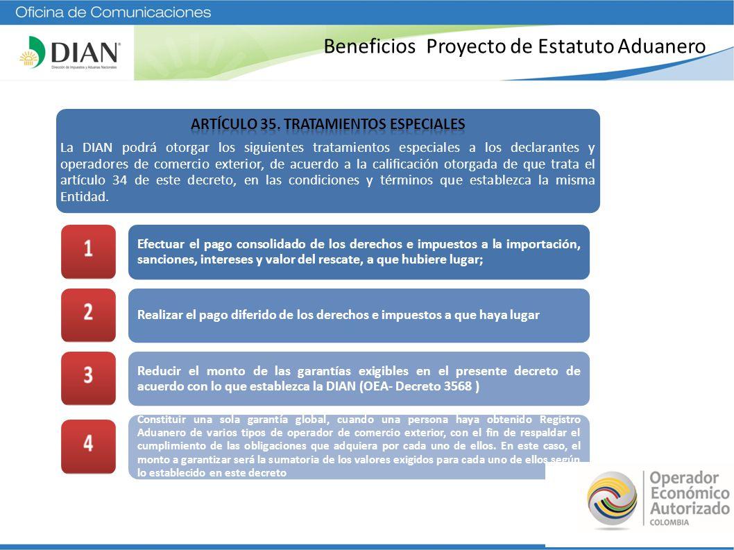 Beneficios Proyecto de Estatuto Aduanero Constituir una garantía global por parte de los declarantes, cuando sea exigida para respaldar el cumplimiento de las obligaciones aduaneras Obtener el aforo de las mercancías a exportar en las instalaciones del usuario, sin necesidad de autorización de la autoridad aduanera e independientemente de la naturaleza, embalaje o peligrosidad que pueda representar la mercancía (OEA- D 3568) Ampliar el cupo estipulado en el artículo 384 del presente decreto para exportar muestras sin valor comercial Realizar labores de consolidación o desconsolidación de carga, transporte de carga o de agenciamiento aduanero, por parte de los depósitos habilitados; Realizar labores de consolidación o desconsolidación de carga, transporte de carga o depósito de mercancías, por parte de las agencias de aduana; Finalizar las operaciones de transito aduanero, transporte multimodal, transporte combinado o transporte por aligeramiento de carga, en instalaciones industriales no habilitadas;