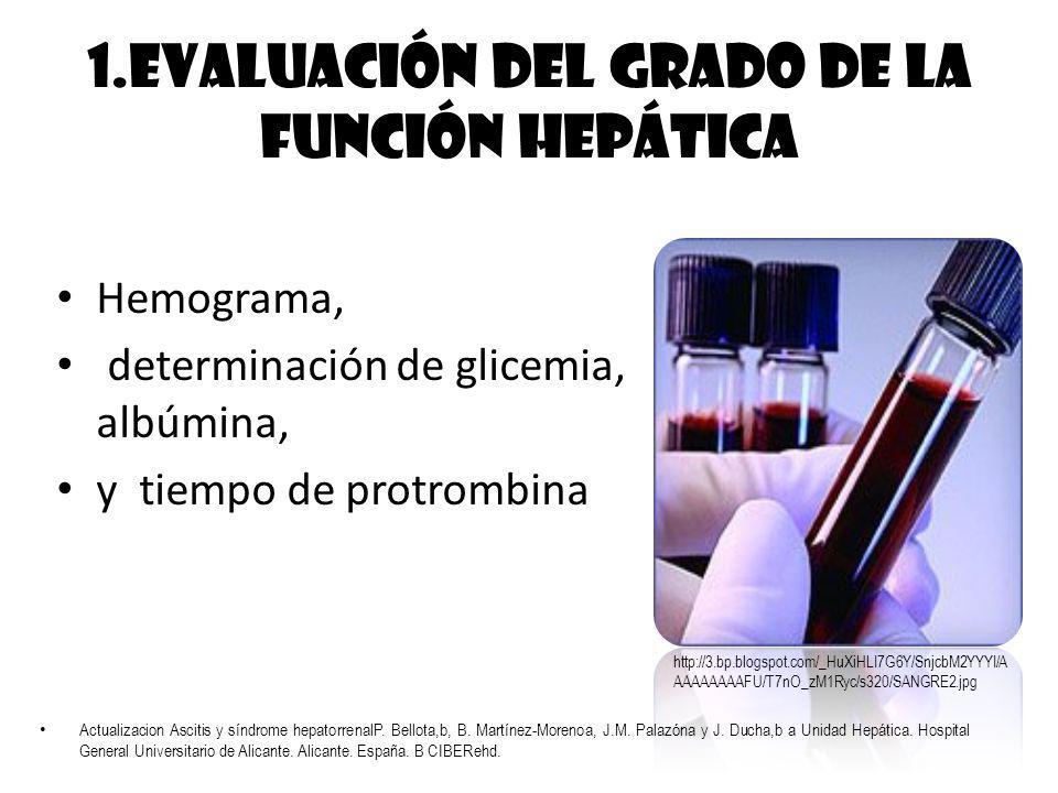 1.Evaluación del grado de la función hepática Hemograma, determinación de glicemia, albúmina, y tiempo de protrombina http://3.bp.blogspot.com/_HuXiHL