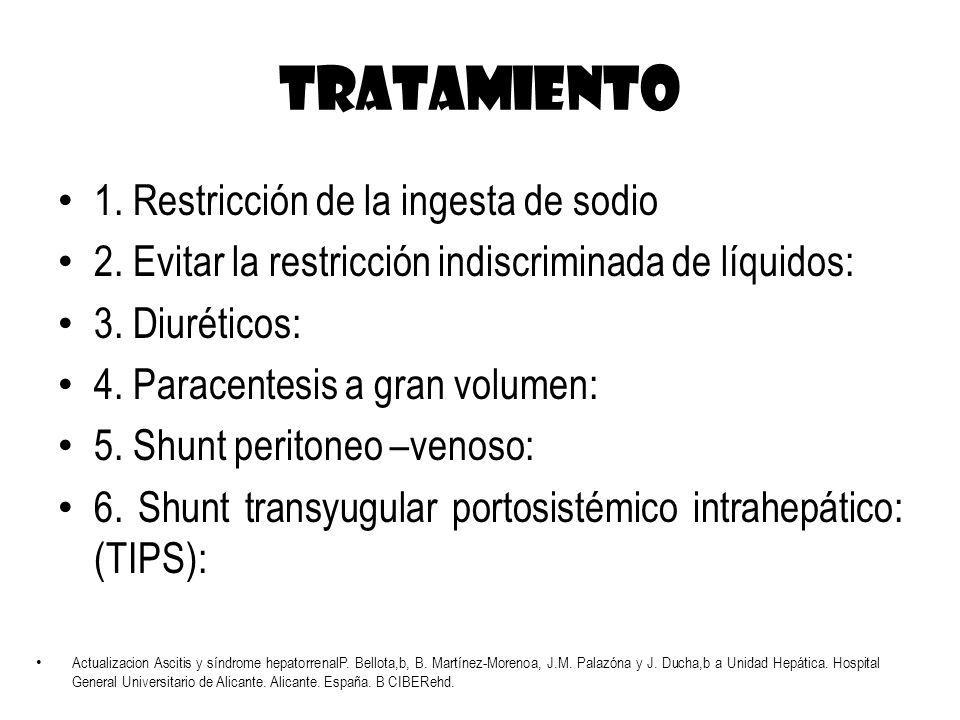 TRATAMIENTO 1. Restricción de la ingesta de sodio 2. Evitar la restricción indiscriminada de líquidos: 3. Diuréticos: 4. Paracentesis a gran volumen: