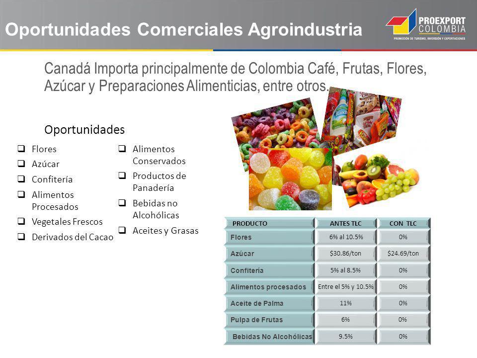 Oportunidades Comerciales Agroindustria Flores Azúcar Confitería Alimentos Procesados Vegetales Frescos Derivados del Cacao Alimentos Conservados Prod