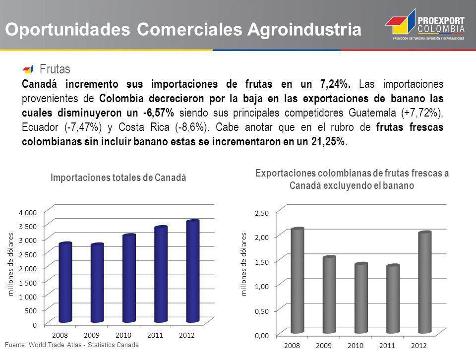 Fuente: World Trade Atlas - Statistics Canada Oportunidades Comerciales Agroindustria Frutas Canadá incremento sus importaciones de frutas en un 7,24%
