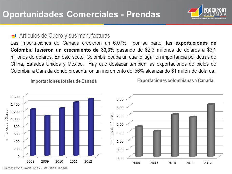 Fuente: World Trade Atlas - Statistics Canada Oportunidades Comerciales - Prendas Artículos de Cuero y sus manufacturas Las importaciones de Canadá cr