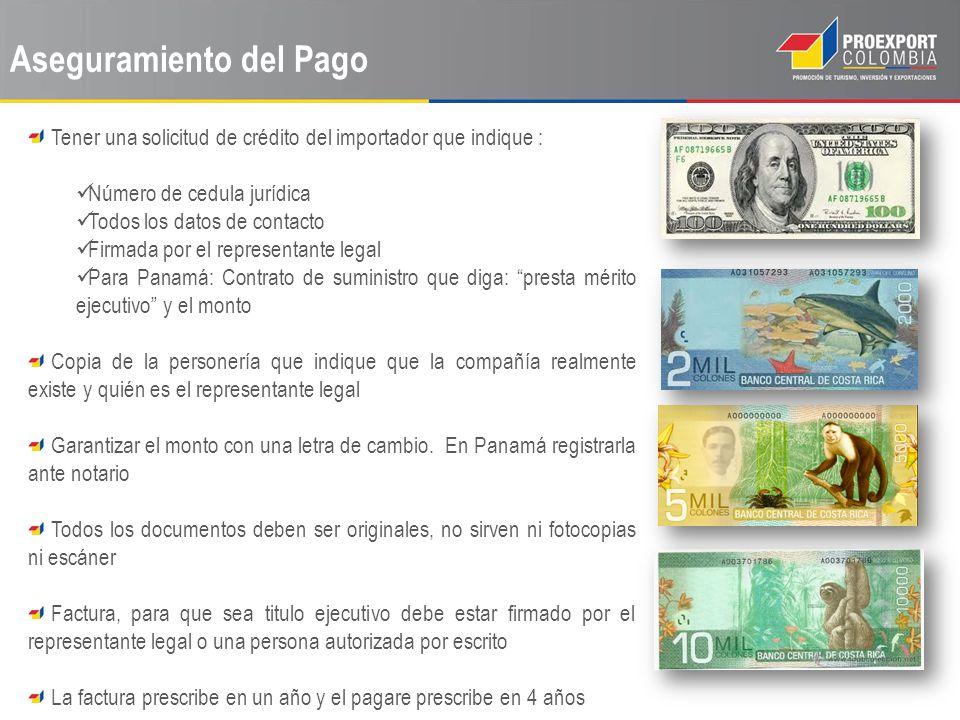 Aseguramiento del Pago Tener una solicitud de crédito del importador que indique : Número de cedula jurídica Todos los datos de contacto Firmada por e