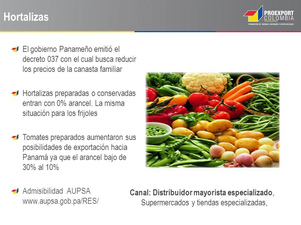 Hortalizas El gobierno Panameño emitió el decreto 037 con el cual busca reducir los precios de la canasta familiar Hortalizas preparadas o conservadas