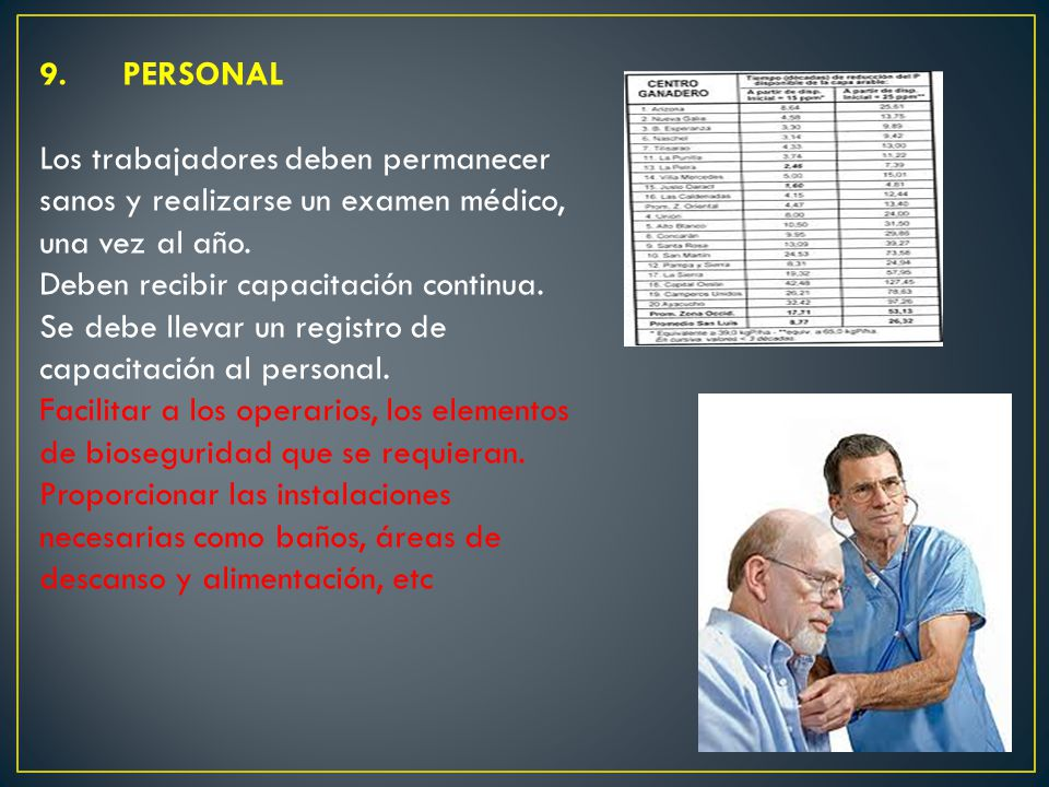 9. PERSONAL Los trabajadores deben permanecer sanos y realizarse un examen médico, una vez al año. Deben recibir capacitación continua. Se debe llevar