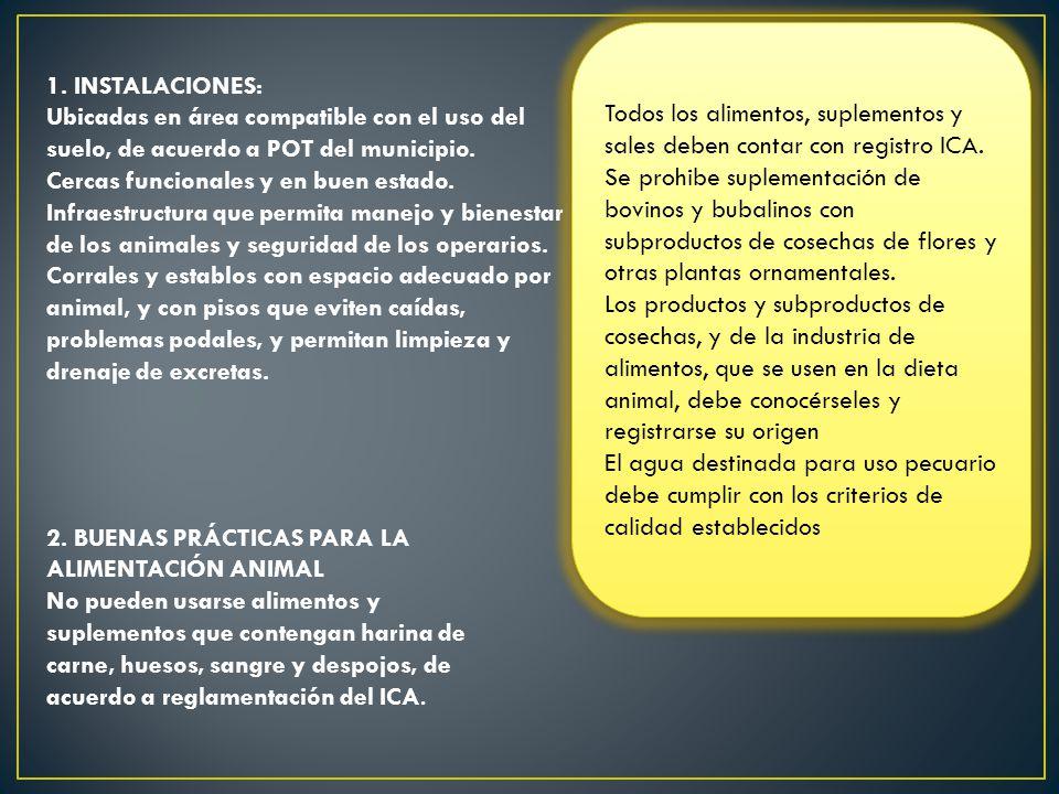 Todos los alimentos, suplementos y sales deben contar con registro ICA. Se prohibe suplementación de bovinos y bubalinos con subproductos de cosechas