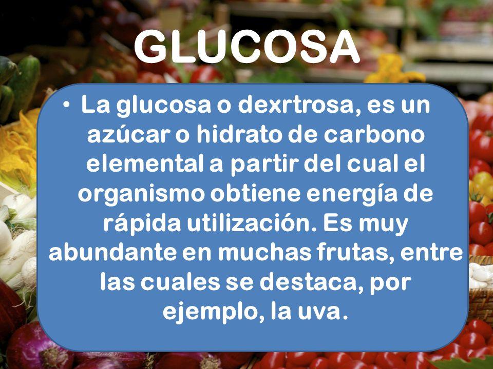 GLUCOSA La glucosa o dexrtrosa, es un azúcar o hidrato de carbono elemental a partir del cual el organismo obtiene energía de rápida utilización. Es m