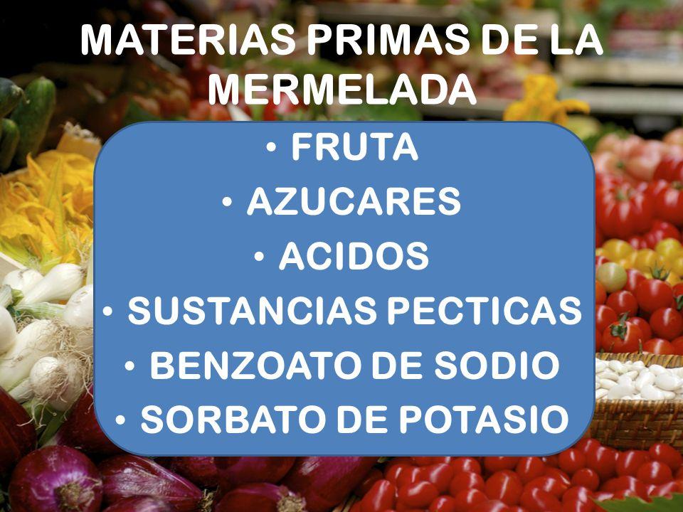 MATERIAS PRIMAS DE LA MERMELADA FRUTA AZUCARES ACIDOS SUSTANCIAS PECTICAS BENZOATO DE SODIO SORBATO DE POTASIO