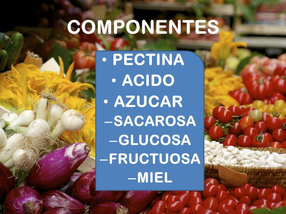 COMPONENTES PECTINA ACIDO AZUCAR – SACAROSA – GLUCOSA – FRUCTUOSA – MIEL