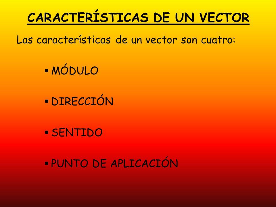 CARACTERÍSTICAS DE UN VECTOR Las características de un vector son cuatro: MÓDULO DIRECCIÓN SENTIDO PUNTO DE APLICACIÓN