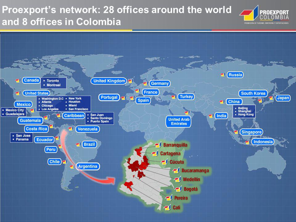 Proexports network: 28 offices around the world and 8 offices in Colombia