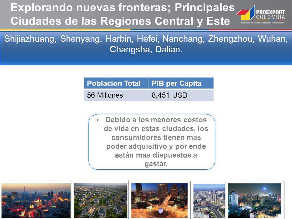 Explorando nuevas fronteras; Principales Ciudades de las Regiones Central y Este Shijiazhuang, Shenyang, Harbin, Hefei, Nanchang, Zhengzhou, Wuhan, Changsha, Dalian.