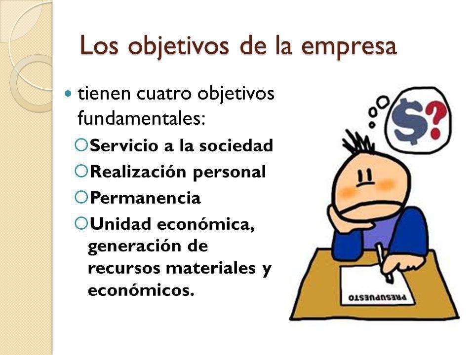 Los objetivos de la empresa tienen cuatro objetivos fundamentales: Servicio a la sociedad Realización personal Permanencia Unidad económica, generació