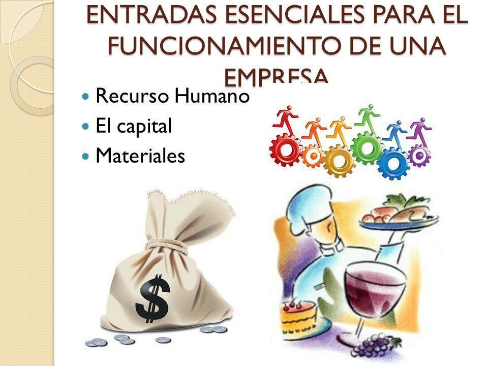 ENTRADAS ESENCIALES PARA EL FUNCIONAMIENTO DE UNA EMPRESA Recurso Humano El capital Materiales