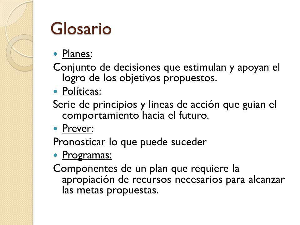 Glosario Planes: Conjunto de decisiones que estimulan y apoyan el logro de los objetivos propuestos. Políticas: Serie de principios y lineas de acción