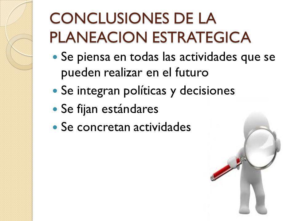 CONCLUSIONES DE LA PLANEACION ESTRATEGICA Se piensa en todas las actividades que se pueden realizar en el futuro Se integran políticas y decisiones Se