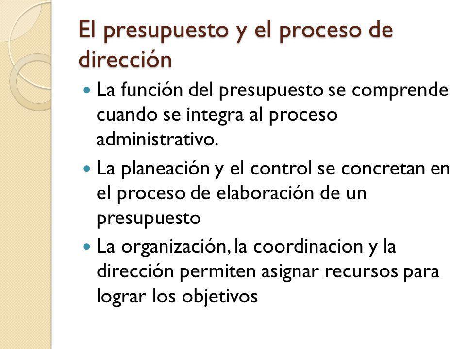 El presupuesto y el proceso de dirección La función del presupuesto se comprende cuando se integra al proceso administrativo. La planeación y el contr