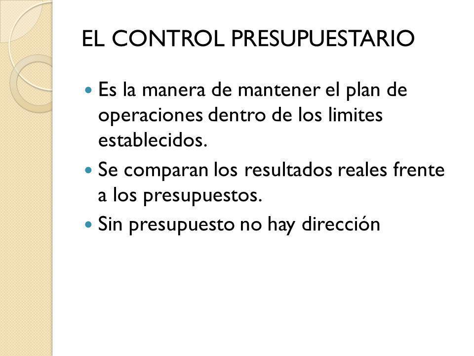 Es la manera de mantener el plan de operaciones dentro de los limites establecidos. Se comparan los resultados reales frente a los presupuestos. Sin p
