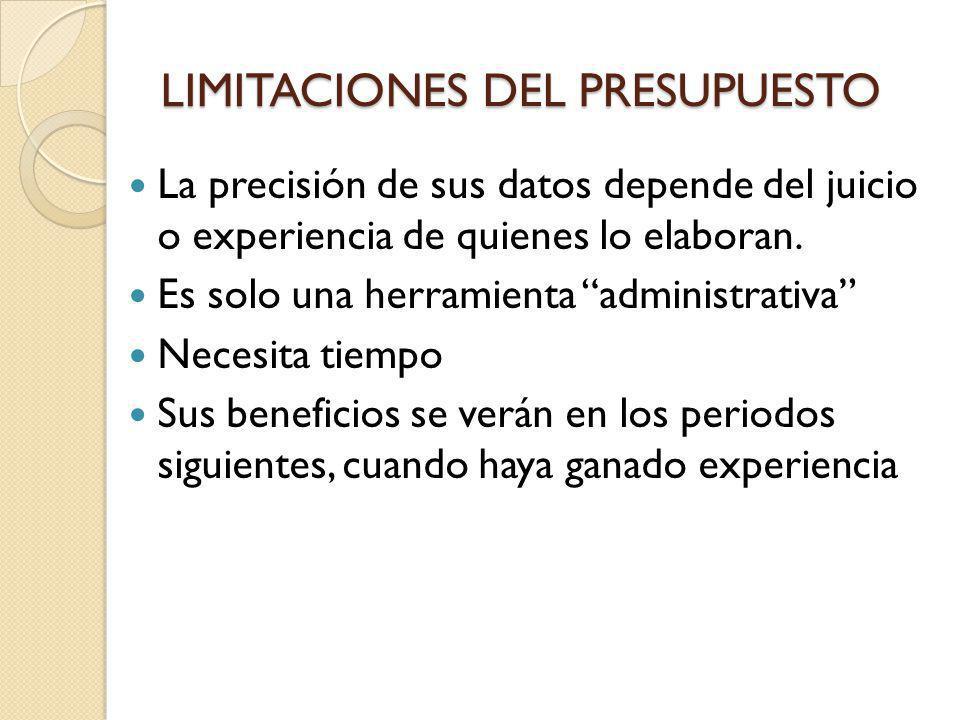 LIMITACIONES DEL PRESUPUESTO La precisión de sus datos depende del juicio o experiencia de quienes lo elaboran. Es solo una herramienta administrativa