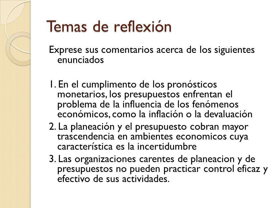 Temas de reflexión Exprese sus comentarios acerca de los siguientes enunciados 1. En el cumplimento de los pronósticos monetarios, los presupuestos en